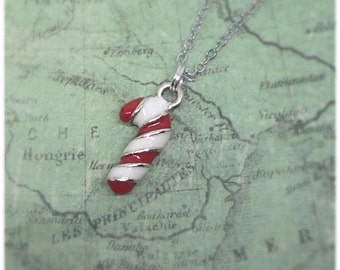 Candy Cane Necklace, Candycane Necklace, Christmas Gift, Red, White, Christmas Jewellery, Ella Rose,
