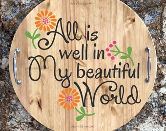 Serving Trays - Lazy Susan - Father's Day - Personalized Serving Tray - Wood Serving Tray with Handles  - Wood Lazy Susan - Gift for Dad