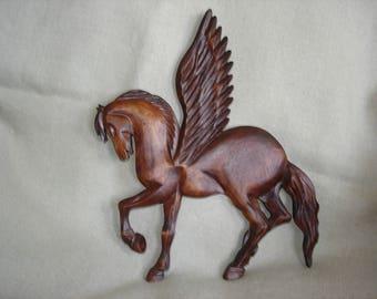 Pegasus, Wooden Pegasus/  Wood carving Pegasus/  Carving wall Pegasus/ Pegasus Decorations/ Pegasus Art