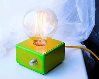 Ecco Green style modern design table lamp with Edison bulb and dimmer!