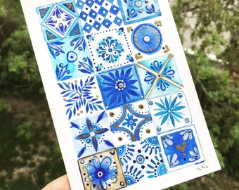 Art print. Blue 2/10. Watercolor art. Tiles for decoration. Pattern. Print. Art for you home.
