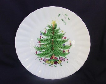 "SALE Blue Ridge CHRISTMAS TREE 10.25"" Dinner Plate with Mistletoe/Star Vintage Southern Potteries Colonial Dinnerware (B35) 9981"