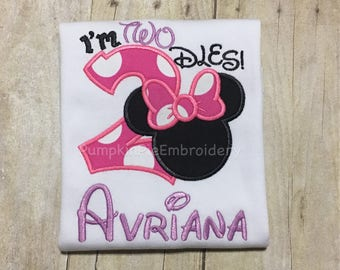 I'm Twodles Minnie Mouse birthday shirt/Birthday/2nd