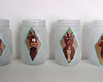 Hand-Painted Rudolph themed frosted pint  jars, Pick 2, Mix and Match with other listings!