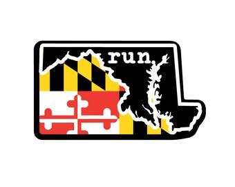 Run MD State Flag Outline Magnet