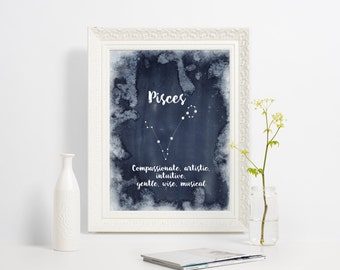 Pisces zodiac art, Printble wall print, Astrology wall decor, Constellation wall decor, Zodiac art print, blue watercolor art