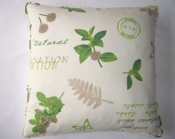 Green and white herbs design cushion cover.