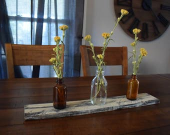 Reclaimed Wood with Glass Jars Table Centerpiece