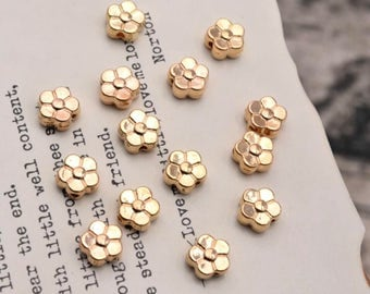 20 flower bead spacer beads gold tone 6mm