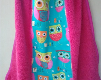 girl pink and Mint green elastic napkin patterns owls elastic girl hot pink Terry towel