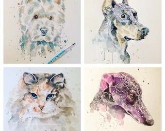 4 Individual Custom Pet Portraits