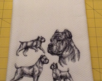 Cane Corso Collage Embroidered Kitchen Hand Towel, Williams Sonoma All Purpose, 100% cotton & Extra Large 20 x 30.