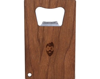 Hipster Bottle Opener With Wood, Stainless Steel Credit Card Size, Bottle Opener For Your Wallet, Credit Card Size Bottle Opener