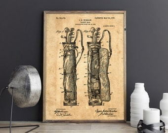 Golf Bag Poster, Golf Bag Patent, Golf Cartbag, Golf Bag Art, Golf