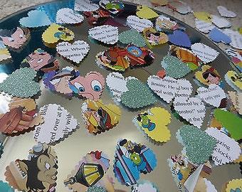 75 x Handmade Disney Pinocchio Scalloped Paper Table Confetti Hearts Crafts WeddingTheme Parties Baby Showers!!