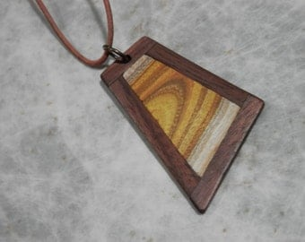 Wood Pendant. Hand Crafted From Exotic Smoke Bush Wood Framed In Black Walnut. Salvaged, Reclaimed Wood.