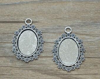7pcs Antique silver flower ellipse cabochon base Charm / accessory DIY 18mm*25mm (505-67)