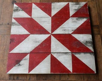 Distressed Red And White Colored Barn Quilt 22 Inch  Ask a question