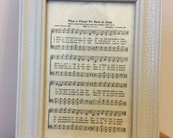 "Vintage - ""What a Friend We Have in Jesus"" Framed Music Sheet with Music Box"