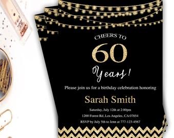 60th birthday invitations | Etsy