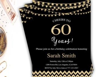 60th birthday invitation, 60th birthday invites, gold chevron 60th invitation, gold and black birthday, gold string lights, glitter, party