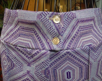 Vintage 1960 NC Fashions Polyester Blue and Purple Slacks and Buttoned Down Top