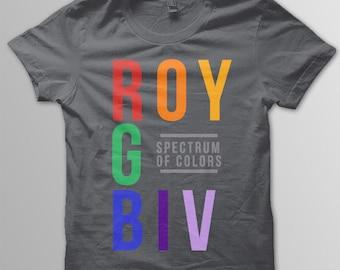 Youth ROYGBIV Color Spectrum kids shirt Roy G Biv shirt