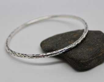 Hammered silver bangle, hammered oxidised silver oval bangle, chunky silver bangle, stacking bangle, handmade silver bangle