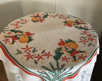 Christmas Vintage Luncheon Tablecloth Gauze Cotton Material, Vintage Cotton Christmas Print Table Topper, Retro Christmas Table Topper