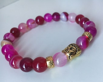 Fuschia Pink Beaded Buddha Braclet