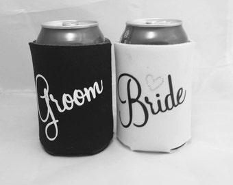 A Set of two Bride & Groom Beer can holders