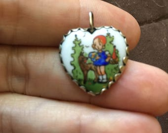Vintage Enameled German Charm Fairy Tale 800 silver Little Red Riding Hood