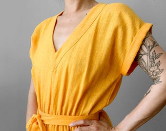 Vintage, 1970's, Sunny-Yellow, Made in Canada, 100% Cotton, Kimono Style, Front Slit, V-Neck Sleeveless, Dress with Tie Belt