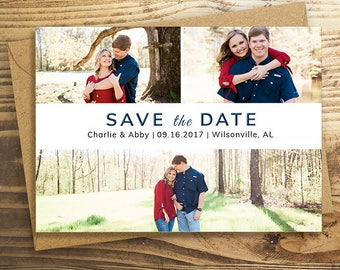Embossed, Photo Save the Date Cards, Wedding Announcement, Embossed Cards, Modern Save the Date