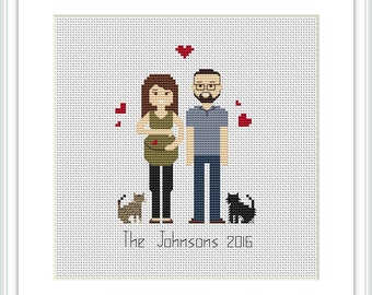 Christmas Custom Cross Stitch Pattern Mother day gift PDF Family portrait custom Gift for Mom Embroidery pattern Pixel people portrait X127