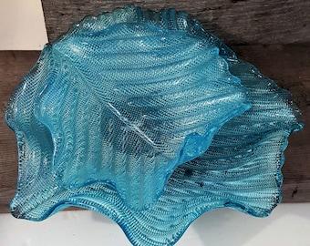 Magnificent sky Blue Hand Made  Double Glass Bowl Delicate Unique Leaf shape