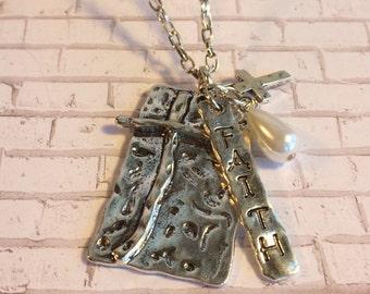 Faith charm cross necklace