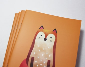 A5 Cute Fox Notebook. 20 lined pages. Matte lamination pleasant to the touch.
