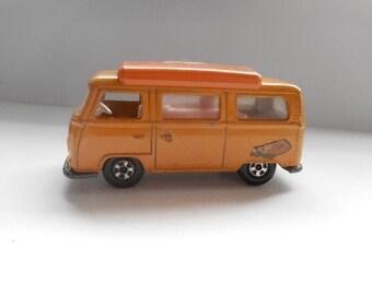 Vintage, Matchbox Superfast, No 23, 1970 VW Volkswagen Dormobile/Camper Van in orange