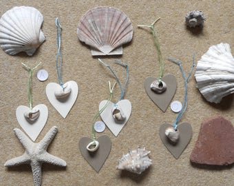 New, Unusual, Unique, Natural, Gift Tags, Seashells, Heart Tag, String, Gift Wrap, Present Wrapping, Packs of Two, Gold, Cream, Green, Blue