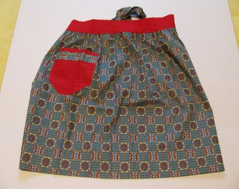 Vintage Blue and Red Half Apron