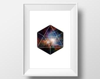 Geometric Galaxy Polyhedron Print - Minimalist Print, Modern Art Poster, Minimalist Decor, Geometric Poster, Modern Art Decor, Galaxy Decor