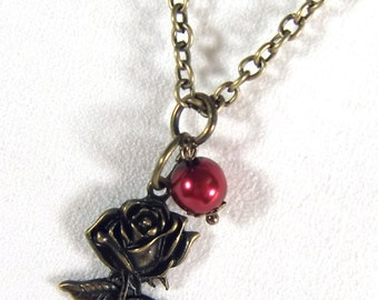 Chain 80 cm colored mixx-DESIGN bronze with charm pendant rose rose-red
