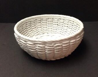 Milk glass woven bowl, ceramic woven bowl, white ceramic basket, candy dish, berry bowl, home decor