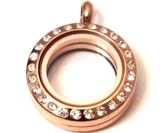 Rose Gold Glass Locket With Crystals ~ Small 20mm Stainless Steel