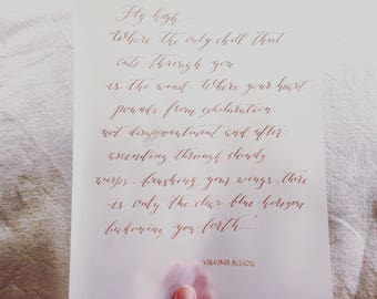 Custom calligraphy for wedding vows, poems, quotes, Bible verse, wall art, love letters on translucent vellum paper handwritten in bronze