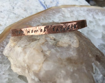 Hand Stamped and Hammered Copper Sanskrit Mantra Aum Namah Shivaya