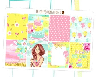 birthday bash fullboxes - hand painted planner stickers