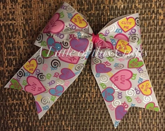 Conversation Heart Cheer Bow