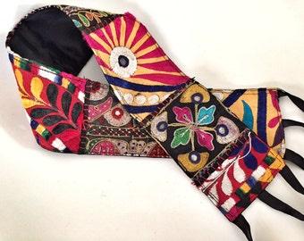 Vintage Folk Art Indian Hand Embroidered Ornamental Belt Tie Sash Craft Decor Boho